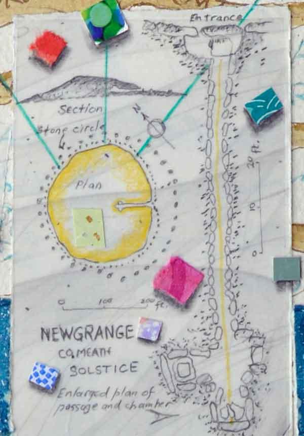 Newgrange Plan & Elevation drawing from Atlas of the Year ©Kathleen O'Brien