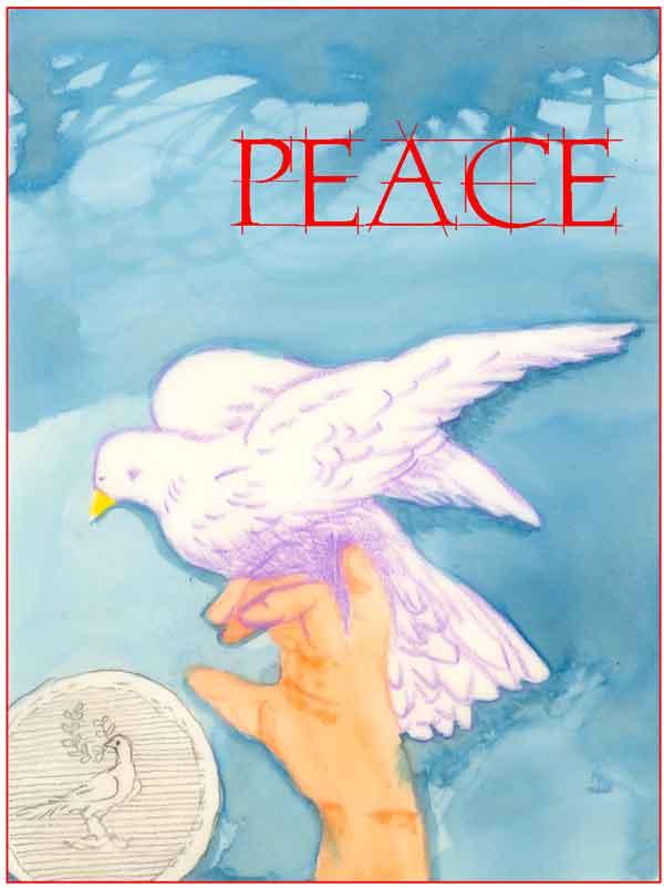 Peace card, drawing, watercolor, ©Kathleen O'Brien