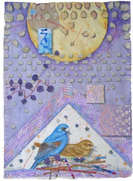 "©Kathleen O'Brien, ""Garden for Blue Grossbeaks"", watercolor, drawing, botanicals, collage"