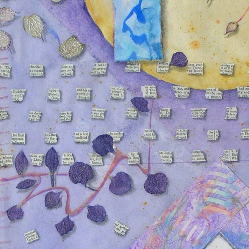 """""""Garden for Blue Grossbeaks"""", detail, watercolor, drawing, botanicals, collage"""