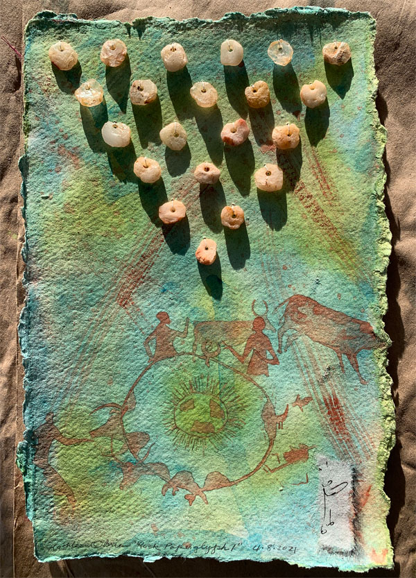 """©Kathleen O'Brien, """"Rock Paperglyph 1"""" in sunset light, watercolor and Neolithic quartz beads"""