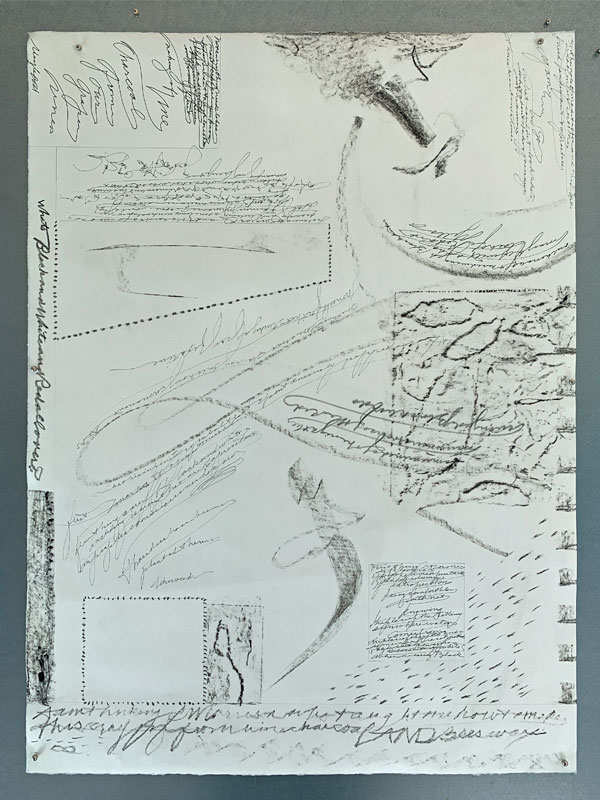 """back side of """"Seeing Both Sides"""" before tearing, showing drawings with beeswax crayon, pens, pencils by Kathleen O'Brien"""