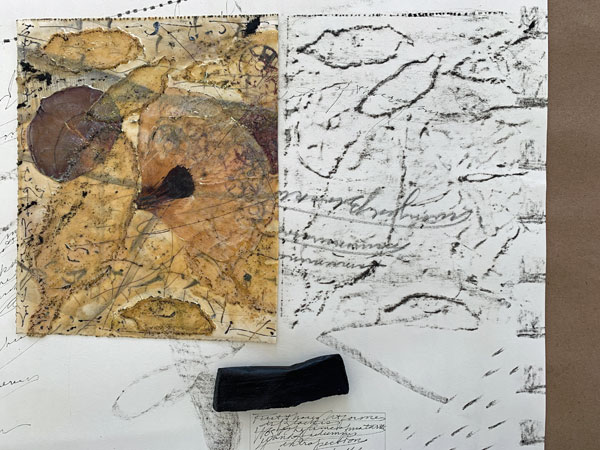 Frotage of the encaustic collage with the Beeswax Crayon