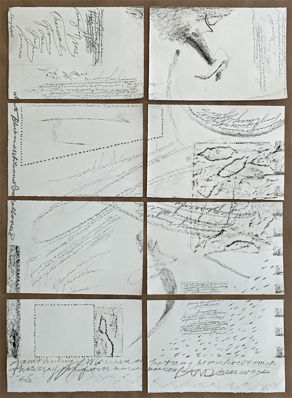 """back side of """"Seeing Both Sides"""" after tearing, showing drawings with beeswax crayon, pens, pencils by Kathleen O'Brien"""