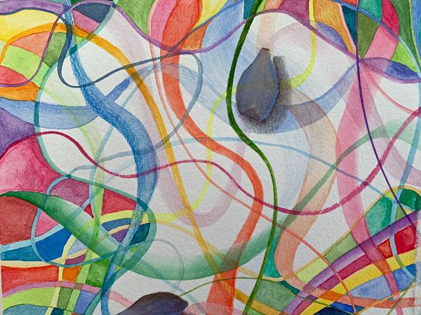 "©Kathleen O'Brien, ""Beginnings Endings 3"", detail, watercolor, drawing, columbine petals"