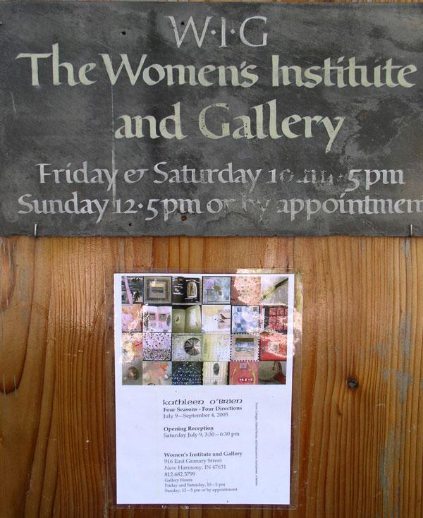 Lena Feiner's Women's Institute and Gallery sign, 4 Seasons- 4 Directions Exhibit 2005