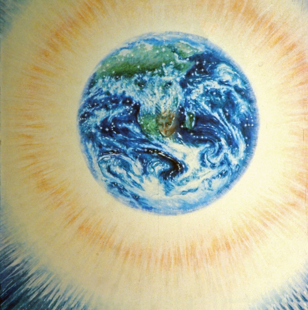 """""""Bridge Across Time"""", ©Kathleen O'Brien, 1989, oil, 36""""x36"""". Detail of the earth before the bridge was painted. This image is from a scan of a slide, my only digital reference."""