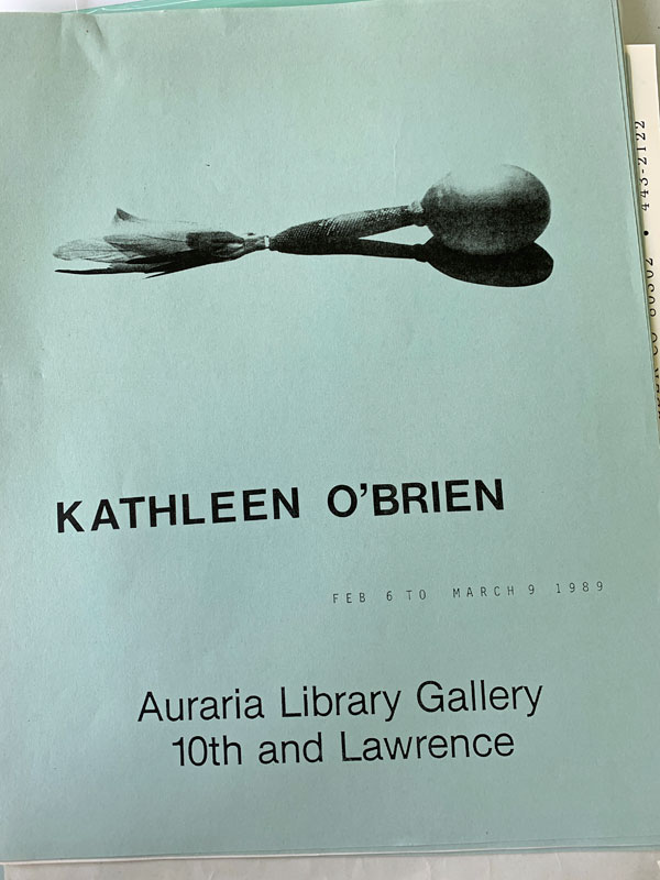 Flyer of the show at Auraria Library Gallery, Denver CO, 1989