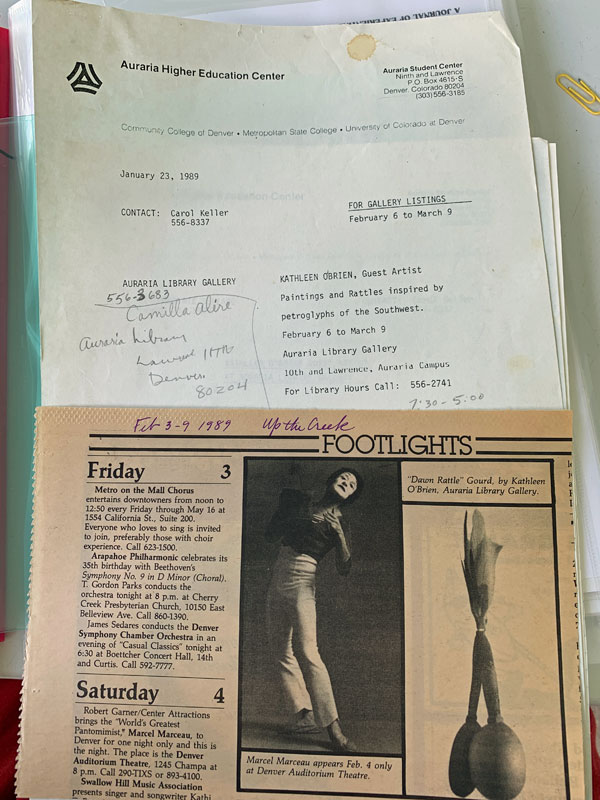 PR and news clip of Kathleen O'Brien's show at Auraria Library Gallery, Denver CO, 1989