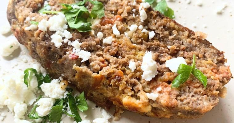 Greek Meatloaf with Feta & Roasted Peppers
