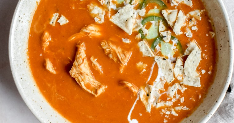 Creamy Chicken Tortilla Soup (Gluten Free, Whole 30, Dairy Free)
