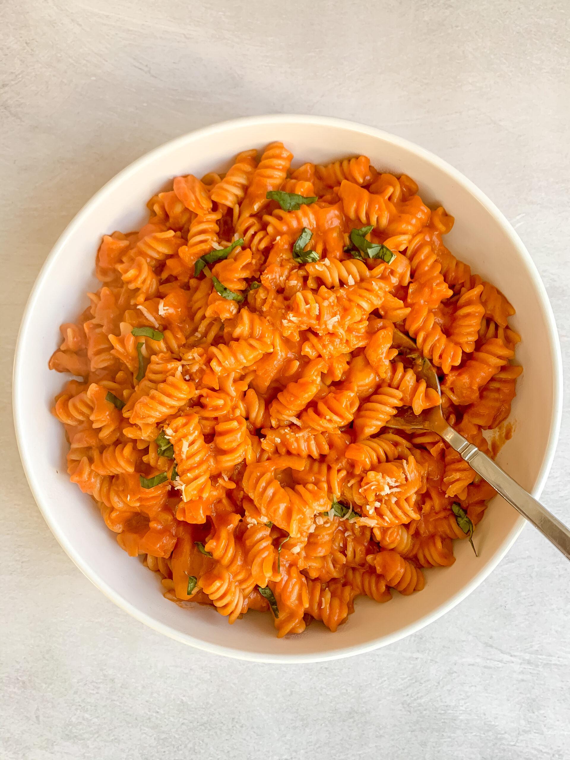 Spicy Fusilli Pasta with Tomato + Cream (Gluten Free, Vegetarian, Dairy Free friendly)