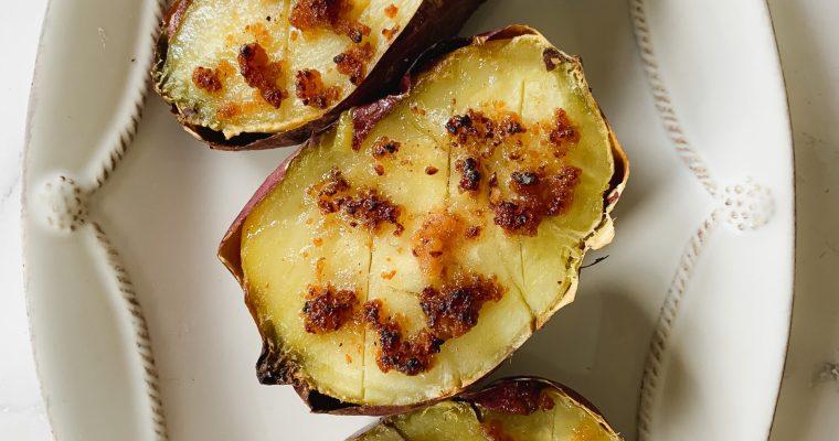 3 Ingredient Miso Butter Sweet Potatoes (Vegetarian)