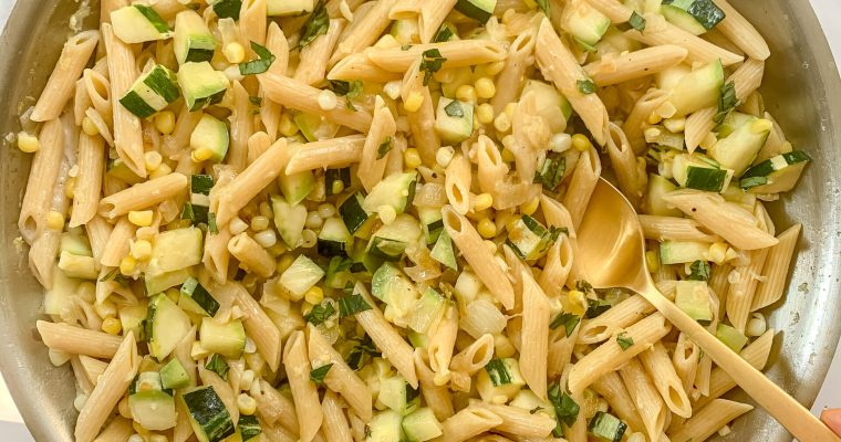 Creamed Corn Pasta with Zucchini + Basil (Gluten Free, Vegetarian)