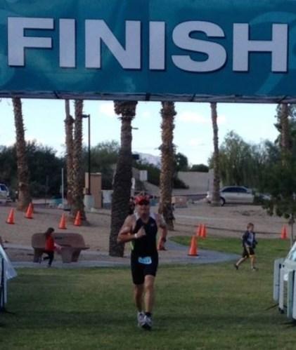 Ron finishing a half distance triathlon! November 2012.