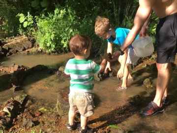 Building dams and playing in the creek! So much fun!