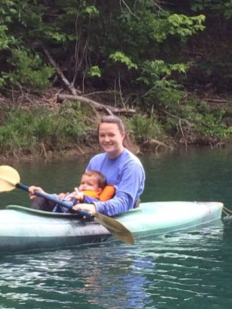 Jacob may not look happy, but he really enjoyed kayaking with his Auntie M.