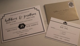 Our wedding invitation and reply card. Designed by Tanya Homan, Pinkster Creations.