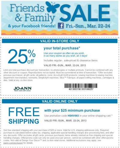 Joann com coupons - printable and online (free shipping