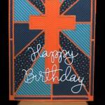Cross Background Birthday Card