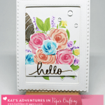 "Two Cards Featuring WPlus9's Freehand Florals Stamp Set and Kat Scrappiness ""Hello"" Die."