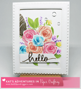 WPlus9 Freehand Florals Stamp Set - Hello die by Kat Scrappiness (KatScrappiness.com) Card by Kathleen Driggers - http://kathleendriggers.com