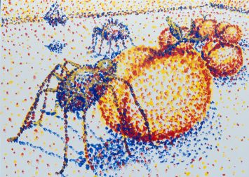 Arachnophobic Peach. Inspired by the style of Georges-Pierre Seurat. I think I was getting lazy about it on this piece. He was much better at pointilism.