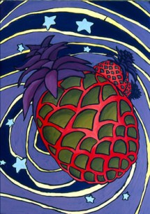 Pineapple in Vertigo. Inspired by the style of Peter Max.