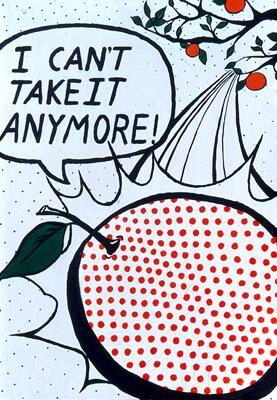 Suicidal Orange. Inspired by the style of Roy Lichtenstein.