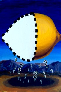 Lemon with Amnesia. Inspired by the style of Rene Magritte.