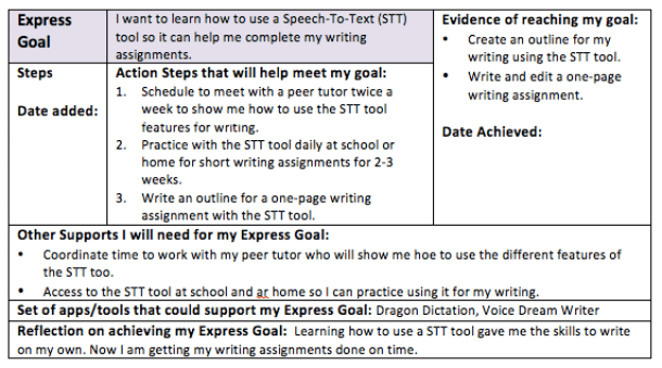 Express goal action steps reflection