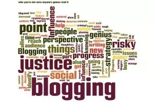 "This post's text as a wordcloud. The word ""blogging"" is the biggest word."
