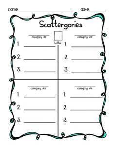 Shared Writing, Taboo words, Scattegories and Figurative