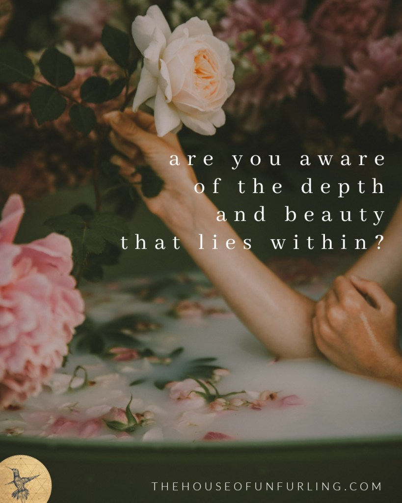 "ARE YOU AWARE OF THE DEPTH AND BEAUTY THAT LIES WITHIN? Click to read the Full Article: ""Do you hold yourself as Sacred? A radical reframe of self-care."" From Embodied Feminine Radiance - kathleensaelens.com"