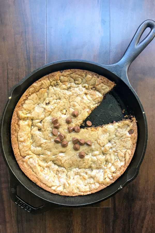 Brown butter takes this chocolate chip cookie skillet up a notch. All it needs is a scoop of ice cream and a cold glass of milk. KathleensCravings.com