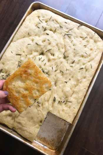 Overnight fluffy focaccia bread with rosemary
