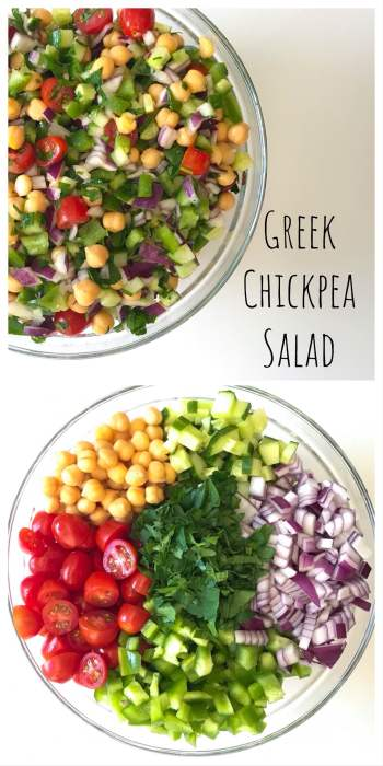 his Greek Chickpea Salad is great to serve a crowd or for meal prep. Filled with fiber and protein, the salad just gets better over time so don't worry about making it in advance. Refreshing yet filling, perfect recipe as the weather warms up.