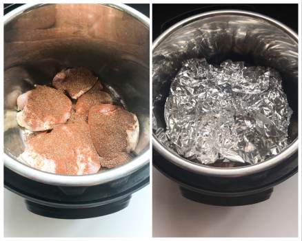 chicken thighs with fajita seasoning and peppers and onions in foil packet in instant pot