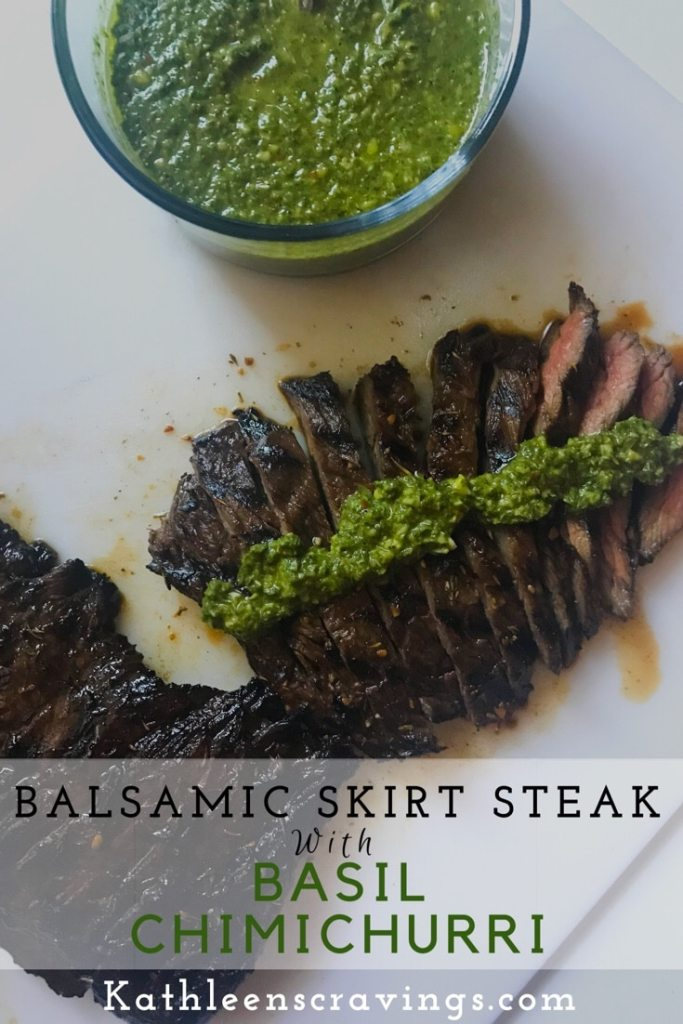 Basil Chimichurri provides the perfect pairing for the grilled skirt steak. The steak marinates (up to 24 hours) to amp up the flavor. A perfect summer meal that can be made almost entirely the day before. When you're ready to eat, just grill up the steak and you're good to go. Recipe at KathleensCravings.com