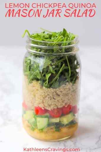 Layered quinoa mason jar salad ingredients with text overlay