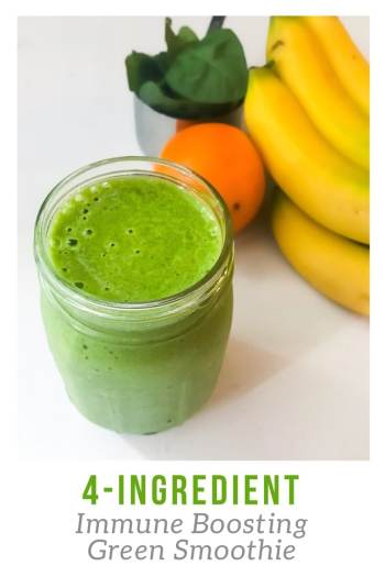 This 4-Ingredient Immune Boosting Green Smoothie is not only simple to make with just four ingredients but it contains lots of Vitamin C, Vitamin E, and folate. Thanks to the sweetness from the pineapple and orange, you won't even know there is spinach in this smoothie.