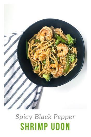 Less than 30 minutes and some pantry ingredients stand in between you and these spicy stir fried udon noodles and shrimp. Thanks to an easy Spicy Black Pepper sauce, you won't even miss takeout. #takeoutfakeout #asiannoodles #spicystirfry #30minutemeal
