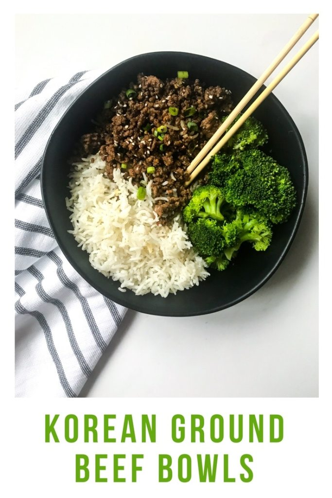 Skip the takeout and make these Korean Ground Beef Bowls. Budget friendly using ground beef and ready in less than 15 minutes. Perfect weeknight meal. #takeoutfakeout #koreanbeef #groundbeefrecipes