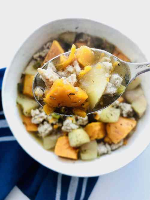 Hearty and comforting. The jalapeños add a bit of spice to contrast the sweetness from the apples and sweet potatoes. Simple to make in the Instant Pot or Slow Cooker. Paleo friendly. Recipe at KathleensCravings.com #whole30slowcooker #whole30instantpot #sweetpotatostew #whole30stew