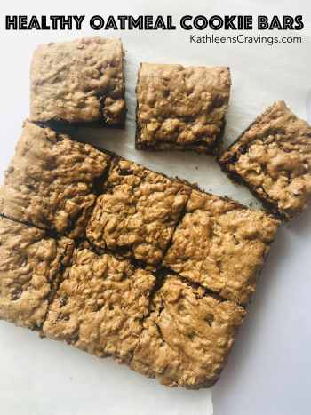 Healthy Oatmeal Cookie bars with text