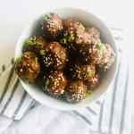 These Sticky Asian Meatballs are extra flavorful thanks to our Hoisin-based sauce. Perfect for a meal with a side of rice and veggies, or serve as an appetizer at your next party. Recipe at KathleensCravings.com #AsianAppetizers #EasyMeatballs #PartyFood