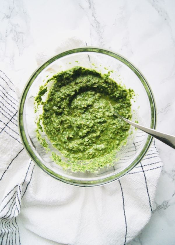Easy Pesto to whip up - just lots of fresh parsley, lemon, pine nuts, olive oil, and salt and pepper. Serve with hot or cold pasta, spoon over chicken or fish, the options are endless. Recipe at KathleensCravings.com #pestorecipe #parsley #pastasalad #summerpasta