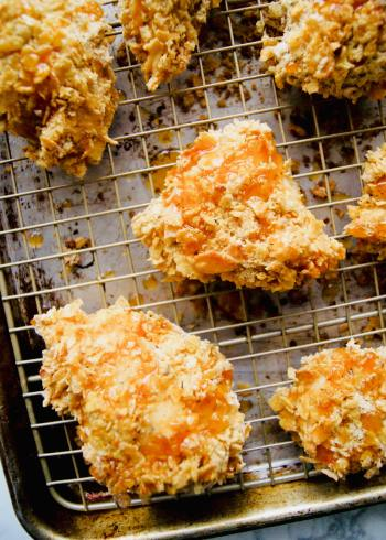 Oven fried chicken with hot honey drizzled