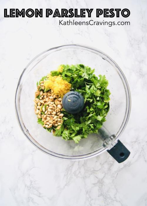 parsley, pesto, pine nuts, and lemon zest in a food processor
