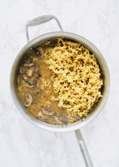 Adding noodles to beef stroganoff